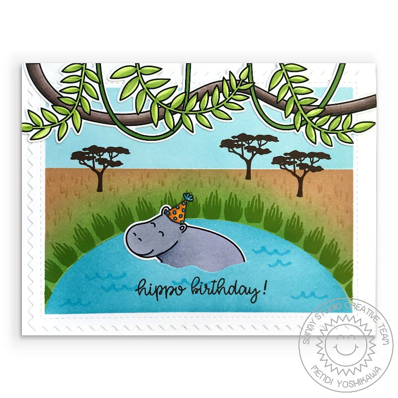 Sunny Studio Stamps: Hippo Birthday Puns Punny Hippopotamus Handmade Card with Vines & Tree Branch (using Tropical Scenes 4x6 Photopolymer Clear Stamp Set)