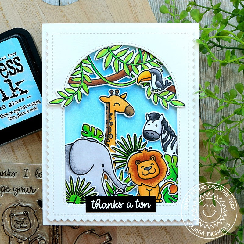 Sunny Studio Stamps Thanks A Ton Punny Elephant, Giraffe, Zebra & Lion Handmade Card with Arched Window (using Stitched Arch Metal Cutting Dies)