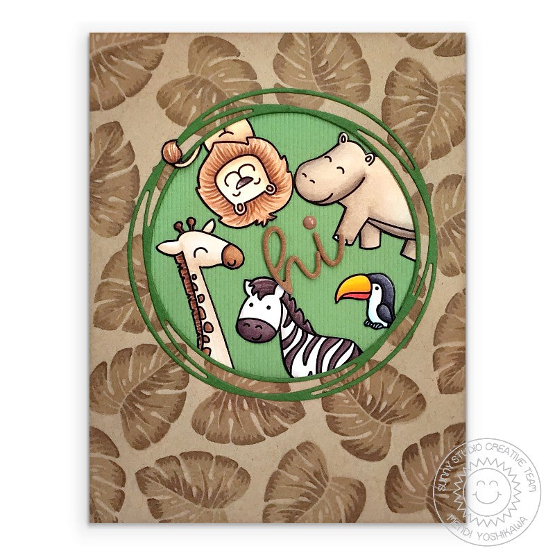 Sunny Studio Stamps: Zoo Animal Handmade Greeting Card with Jungle Leaf Background Print & Loopy Circle Frame (using Radiant Plumeria Stamps )