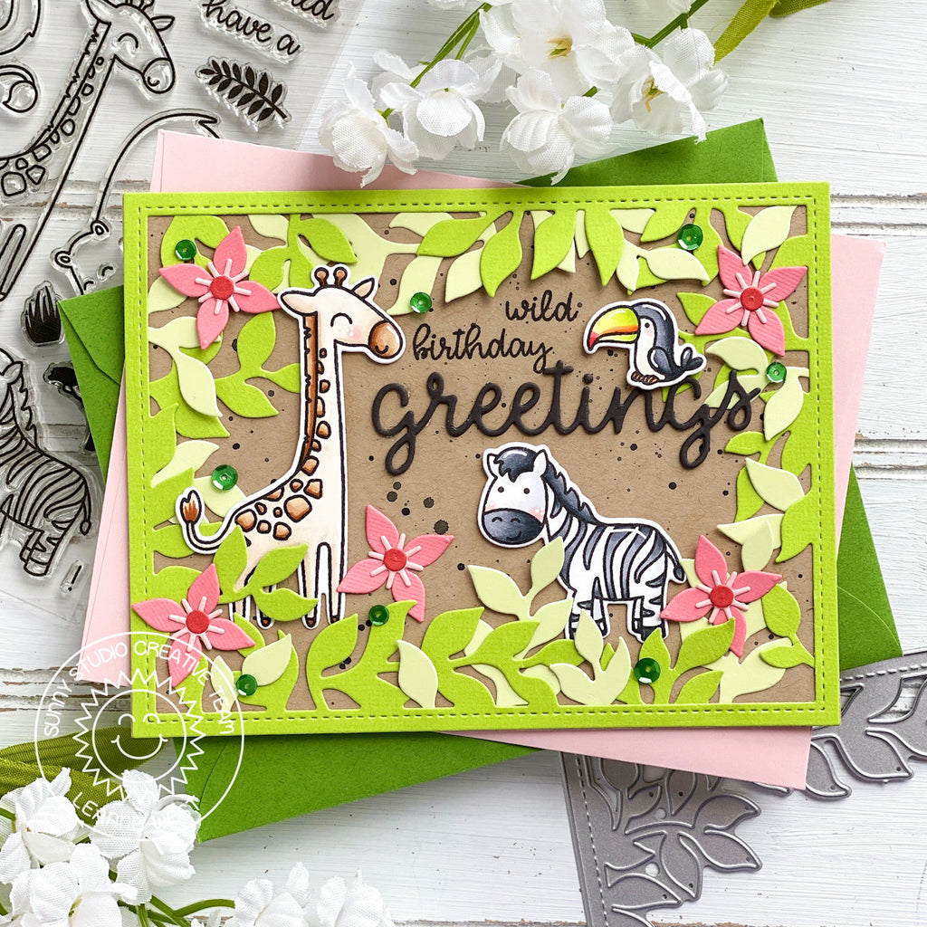 Sunny Studio Stamps Wild Birthday Greetings Giraffe, Zebra & Toucan Jungle Themed Handmade Card (using Savanna Safari Animal 4x6 Clear Photopolymer Stamp Set)
