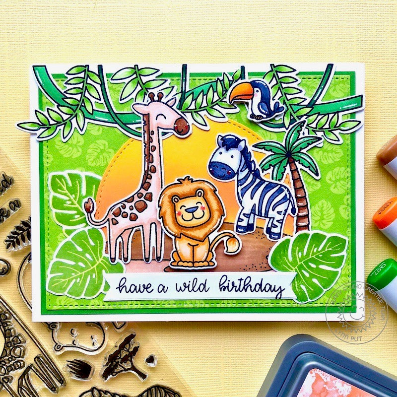 Sunny Studio Have A Wild Birthday Giraffe, Lion & Zebra Jungle Themed Handmade DIY Greeting Card (using Stitched Semi-circle Nesting Metal Cutting Dies Set)