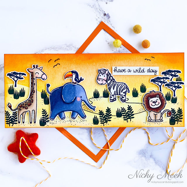 Sunny Studio Have A Wild Day Giraffe, Elephant, Zebra & Lion Handmade Slimline Card by Nicky Meek (using Savanna Safari 4x6 Clear Photopolymer Stamp Set)