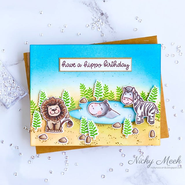 Sunny Studio Have A Hippo Birthday Handmade Card by Nicky Meek (using Savanna Safari 4x6 Clear Photopolymer Stamp Set)
