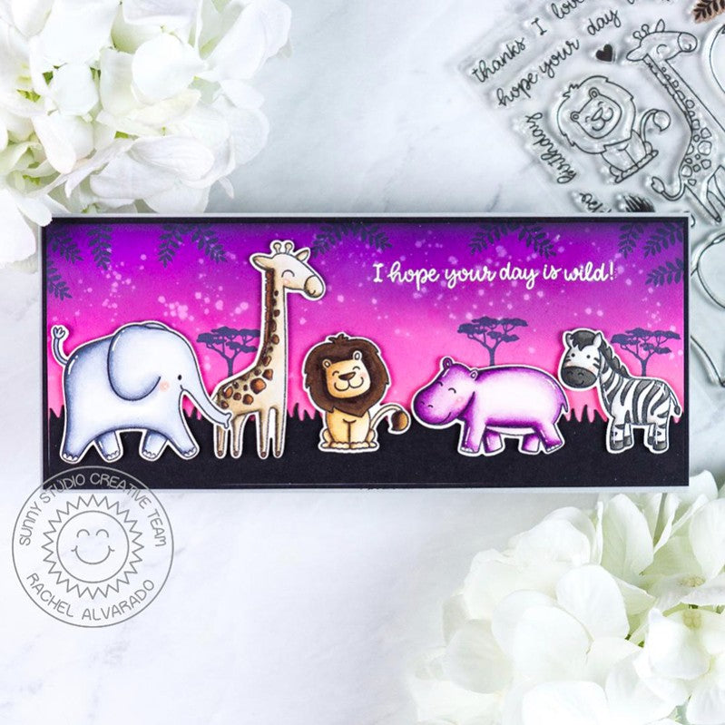 Sunny Studio Stamps Hot Pink Hope Your Day Is Wild Elephant, Giraffe, Lion, Hippo & Zebra Handmade Slimline Card (using Savanna Safari Animal 4x6 Clear Photopolymer Stamp Set)