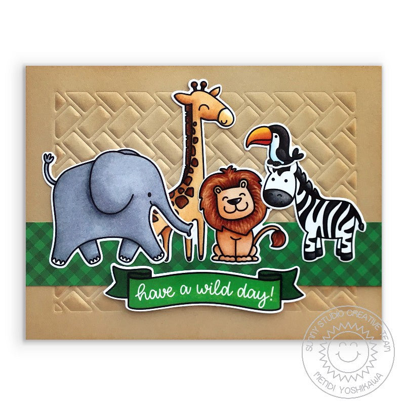 Sunny Studio Stamps Have A Wild Day Safari Animals Kraft Embossed Handmade Card (using Frilly Frames Herringbone Background Backdrop Metal Cutting Dies)