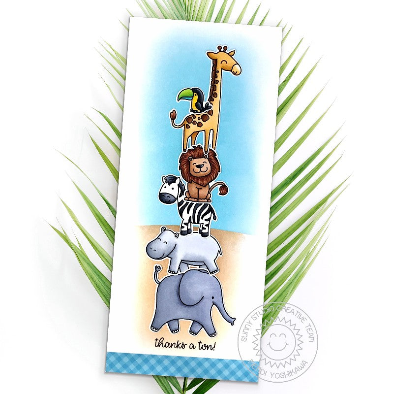 Sunny Studio Blog: Thanks A Ton Stacked Zoo Animals Giraffe, Lion, Zebra & Elephant Slimline Handmade Thank You Card (using Savanna Safari 4x6 Clear Photopolymer Stamp Set)
