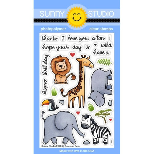 Sunny Studio Stamps Savanna Safari African Animal Critters 4x6 Clear Photopolymer Stamp Set with Lion, Giraffe, Zebra, Hippo, Toucan & Elephant