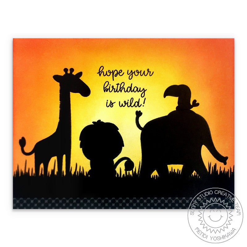Sunny Studio Blog: Giraffe, Lion, Elephant African Animals Silhouette with Sunset Wild Birthday Card (using Savanna Safari 4x6 Clear Photopolymer Stamp Set)
