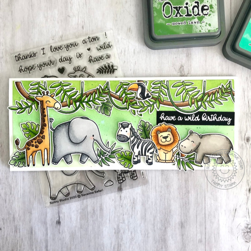 Sunny Studio Stamps Zoo Summer Themed Handmade Slimline Card with hanging jungle vines and leaves border (using Tropical Scenes 4x6 Clear Photopolymer Stamp Set)
