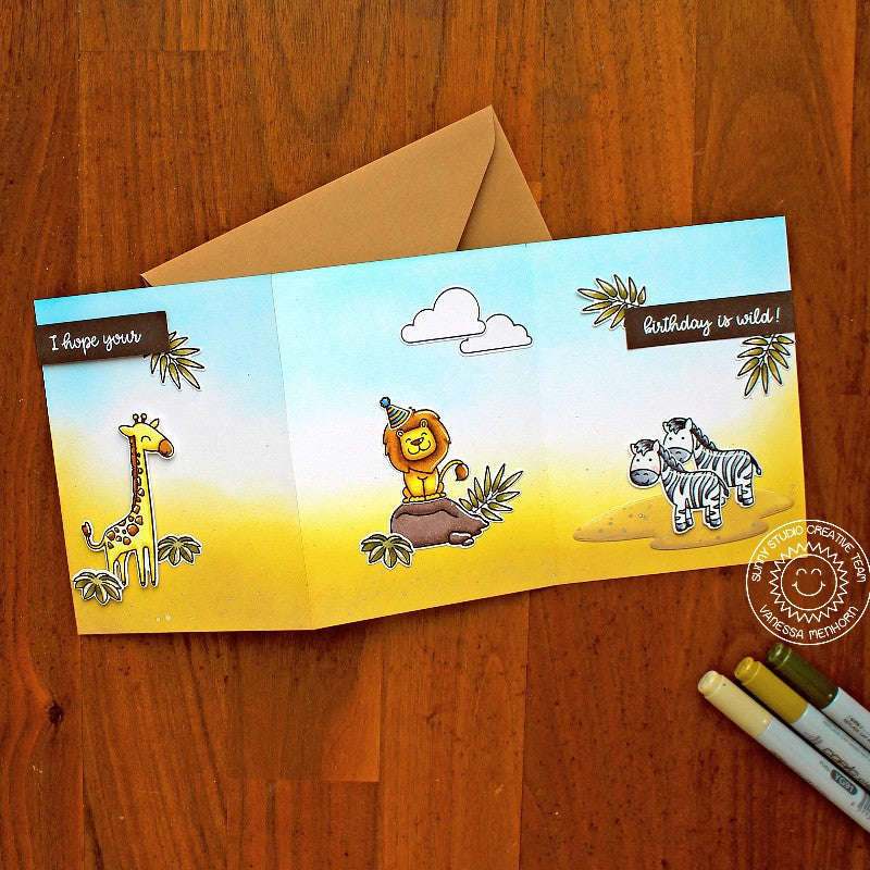 Sunny Studio Giraffe, Lion & Zebra Tri-fold Handmade DIY Birthday Greeting Card (using Savanna Safari 4x6 Clear Photopolymer Stamp Set)