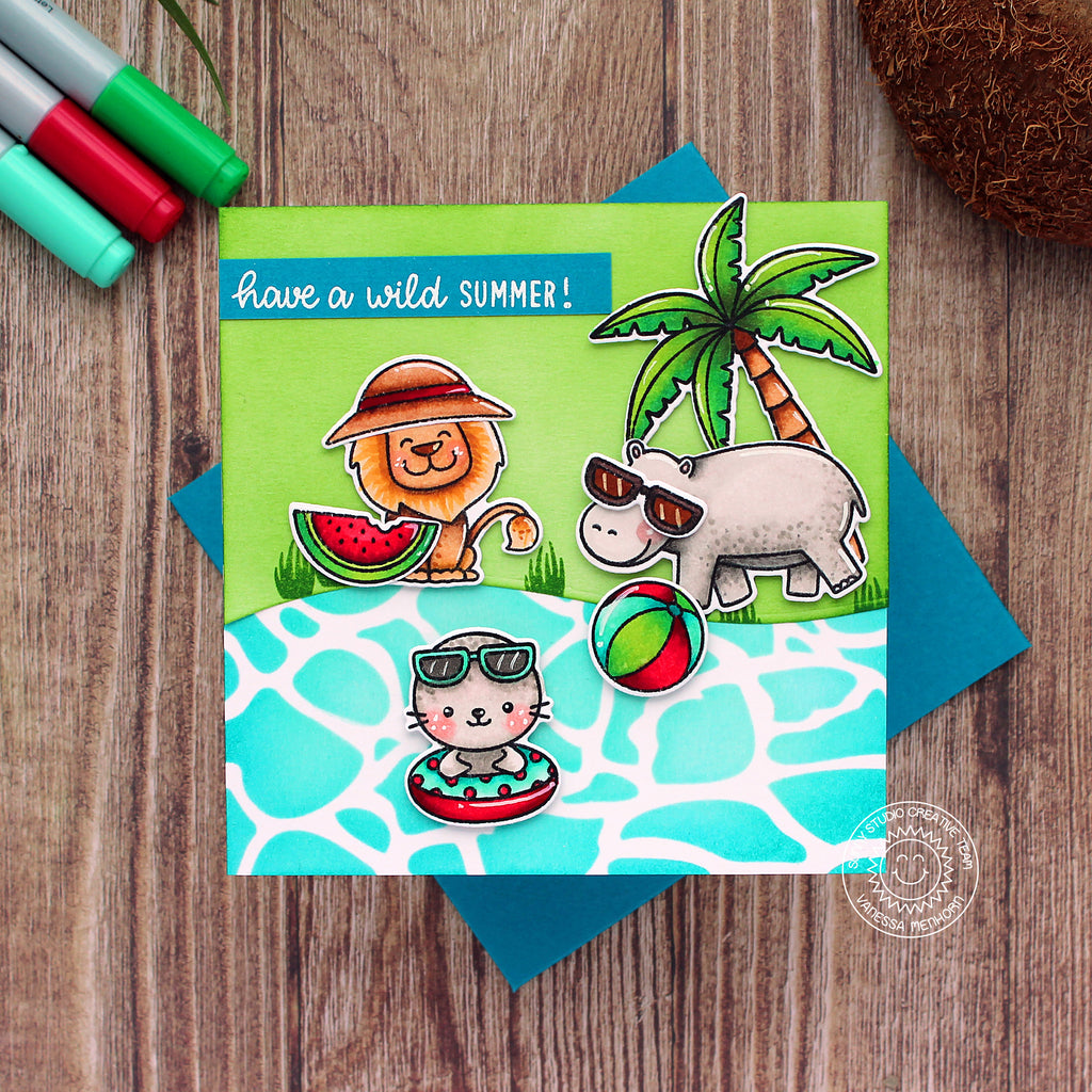 Sunny Studio Stamps Lion, Hippo & Seal Pool Themed Summer Handmade Square Card (using Savanna Safari Animal 4x6 Clear Photopolymer Stamp Set)