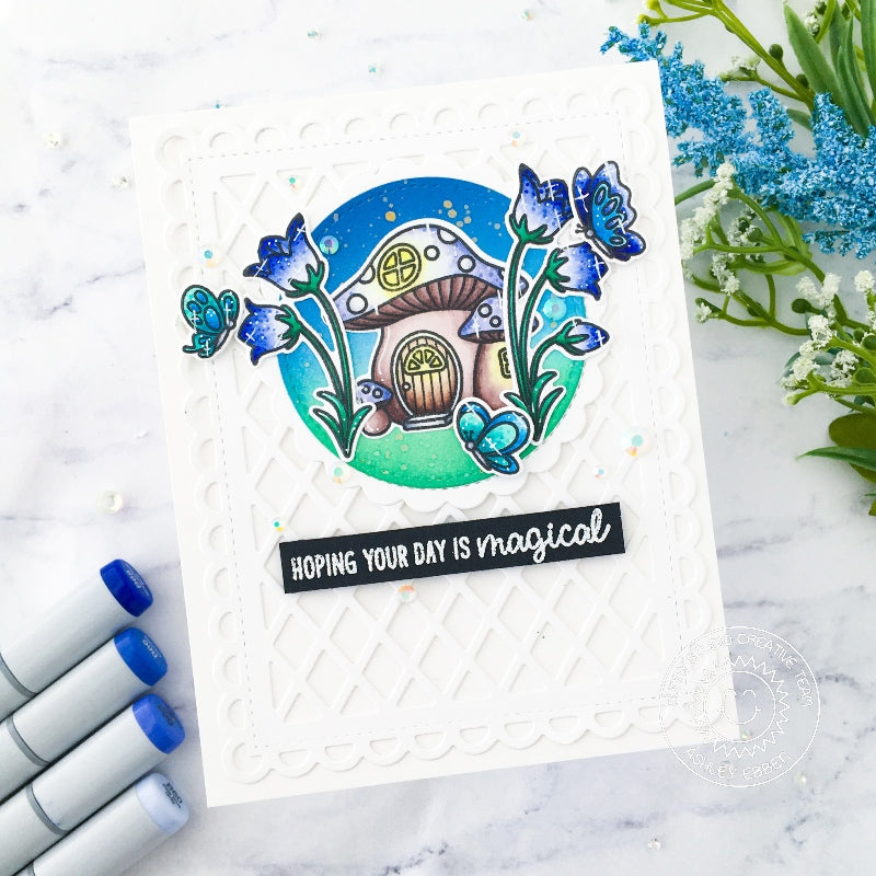 Sunny Studio Stamps Hoping Your Day Is Magical Toadstool House with Blue Belle Flowers and Butterflies Handmade Card (using Scalloped Circle Mat 1 Dies)
