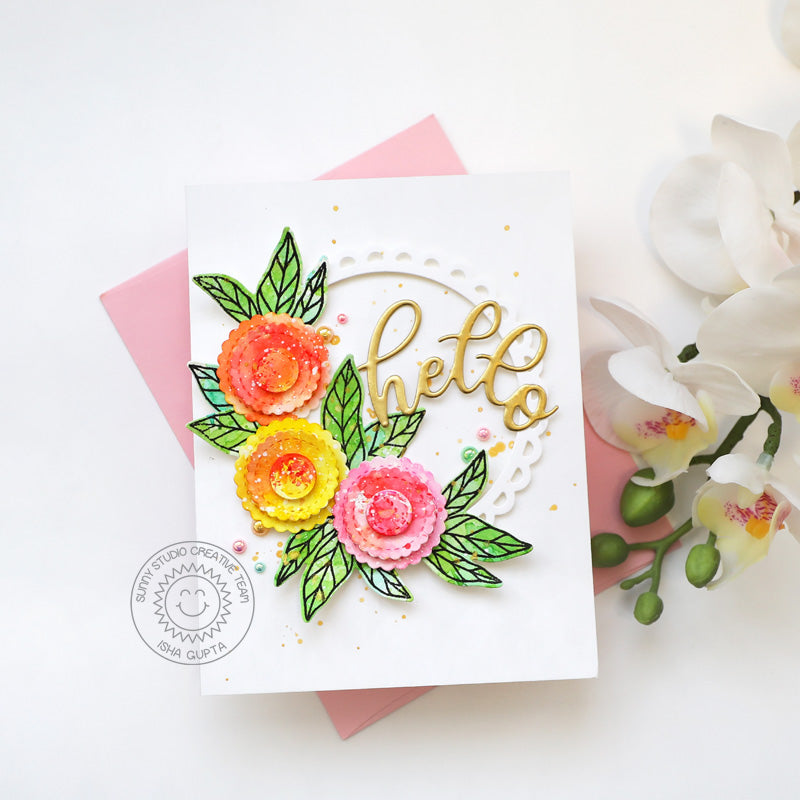 Sunny Studio Stamps Hello Watercolor Floral Flowers Card (using Scalloped Circle Mat 1 Metal Cutting Dies)
