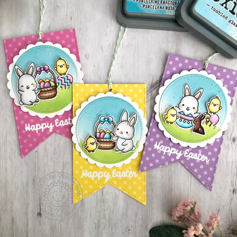 Sunny Studio Stamps Happy Easter Bunny, Chick, Eggs & Baskets Handmade Gift Tags (using Scalloped Circle Mat 1 Dies)