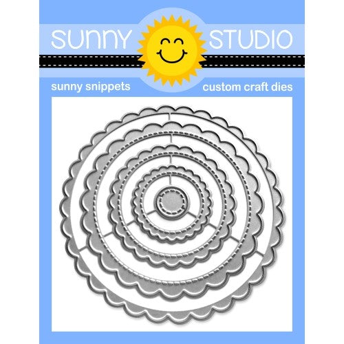 Sunny Studio Stamps Stitched SCALLOPED CIRCLE MAT 1 Metal Cutting Dies - Nesting 5-piece Set