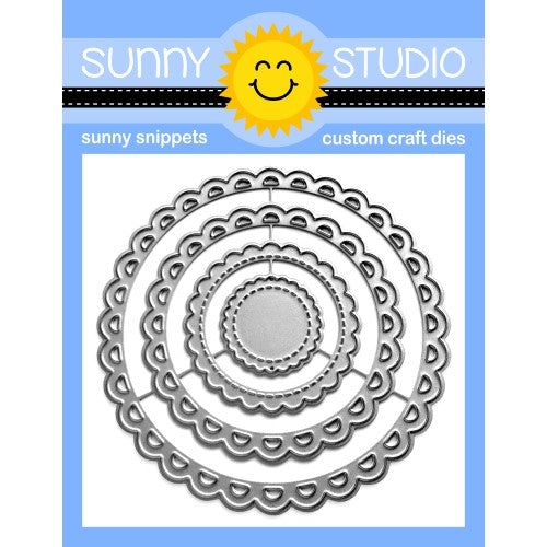 Sunny Studio Stamps Lacy & Stitched SCALLOPED CIRCLE MAT 3 Metal Cutting Dies - Nesting 4-piece Set
