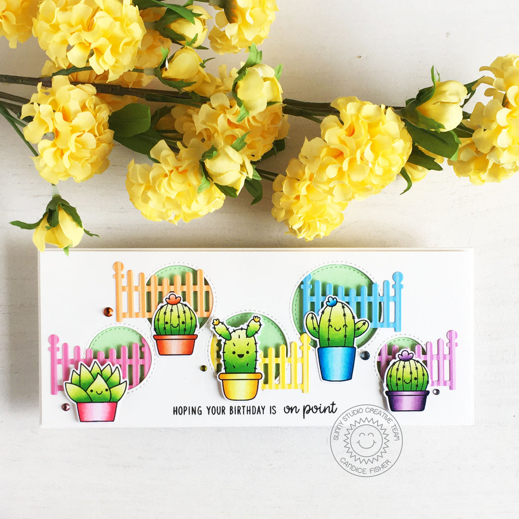 Sunny Studio Stamps Hoping Your Birthday Is On Point Punny Cactus Slimline Card (using Scalloped Fence Dies)