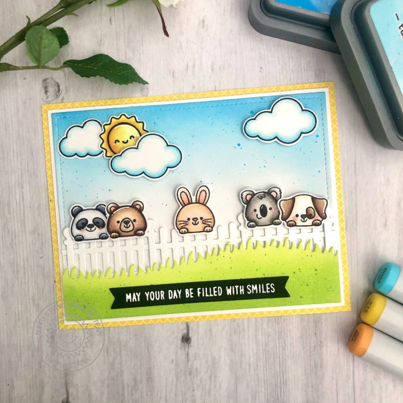 Sunny Studio Stamps May Your Day Be Filled With Smiles Critters peeking of the Fence Everyday Card (using Scalloped Fence Dies)