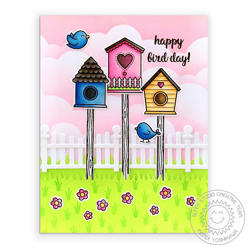 Sunny Studio Birds with Birdhouses & Pink Clouds Happy Bird day Punny Birthday Card (using Scalloped Fence Metal Cutting Dies)
