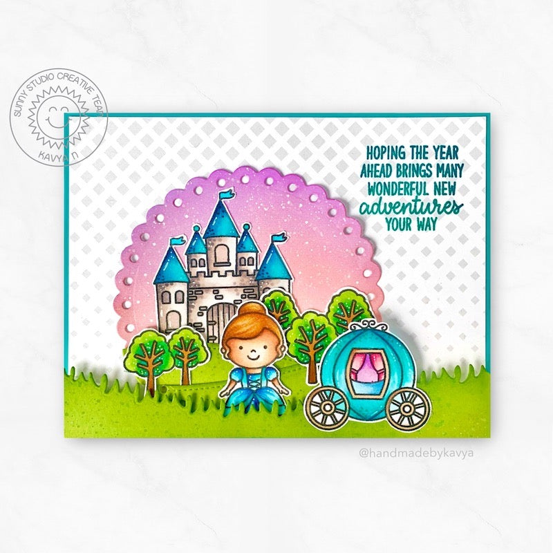 Sunny Studio Hoping The Year Ahead Brings Many Wonderful New Adventures Your Way Princess with Carriage & Castle Girl Themed Card (using Inside Greetings Birthday Sentiment Stamps)