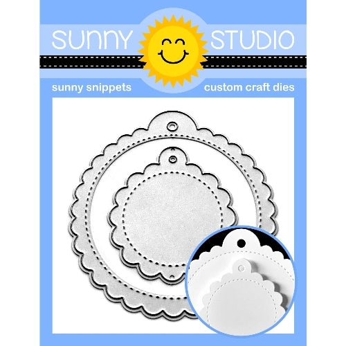 Sunny Studio Stamps Scalloped Tag Circle Stitched Scallop Metal Cutting Dies 2-piece Set