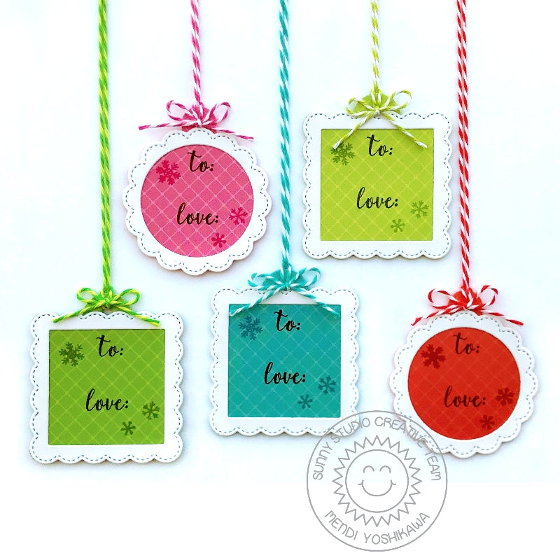 Sunny Studio Stamps stitched Scalloped Circle & Square Mini Christmas Holiday Gift Tags (using diamond print from Very Merry 6x6 paper pack)