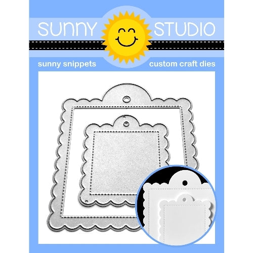 Sunny Studio Stamps Stitched Scallop Scalloped Square Metal Cutting Dies 2-piece Set