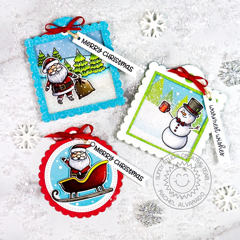 Sunny Studio Stamps Santa Claus & Snowman Stitched Holiday Gift Tags (using Scalloped Square Tag Dies)