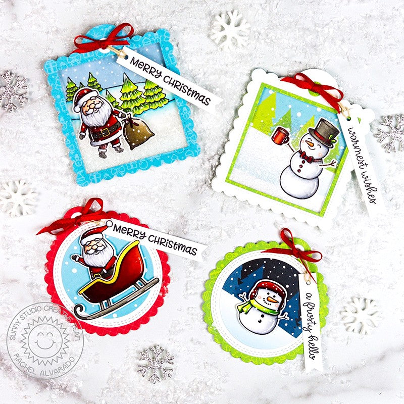 Sunny Studio Stamps Santa Claus & Snowman Stitched Holiday Gift Tags (using Scalloped Circle Tag Dies)