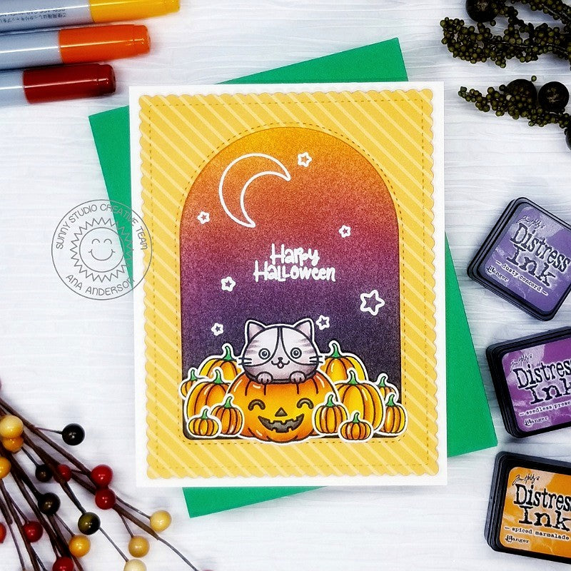 Sunny Studio Stamps Happy Halloween Kitty Cat in Jack-o-lantern Pumpkin with Curved Window Handmade Card (using Stitched Arch Metal Cutting Dies)
