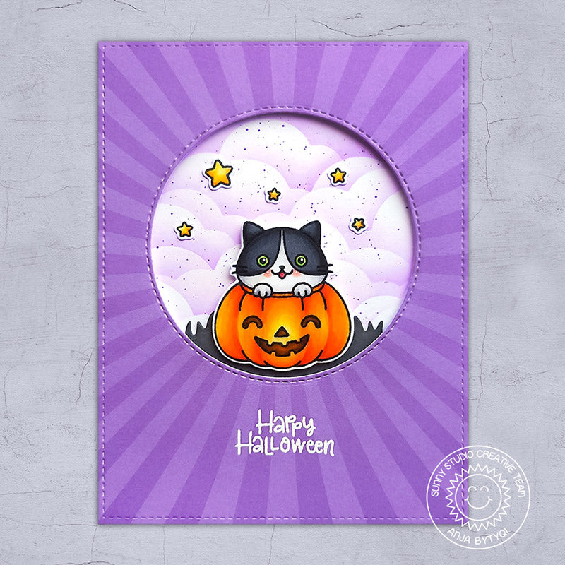 Sunny Studio Stamps Purple Sun Ray Happy Halloween Kitty Cat in Pumpkin Stitched Handmade Card (using Classic Sunburst 6x6 Patterned Paper Pad)