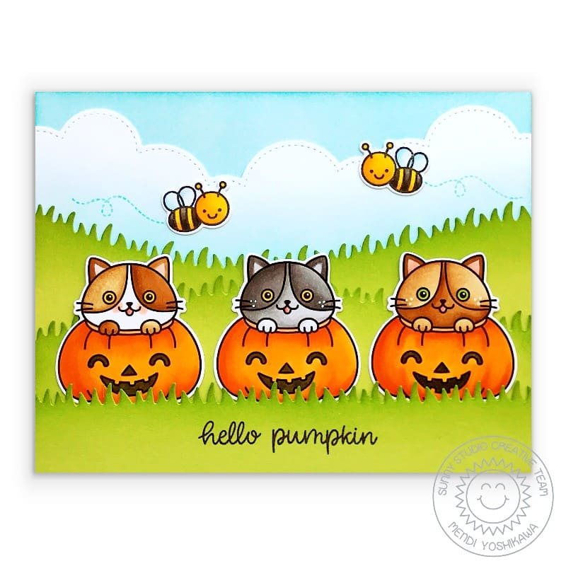 Sunny Studio Halloween Fall Kitty Cats in Jack-o-lantern Pumpkins with Bumblebees Honey Bees Handmade Card (using Scaredy Cat 2x3 Clear Photopolymer Stamp Set)