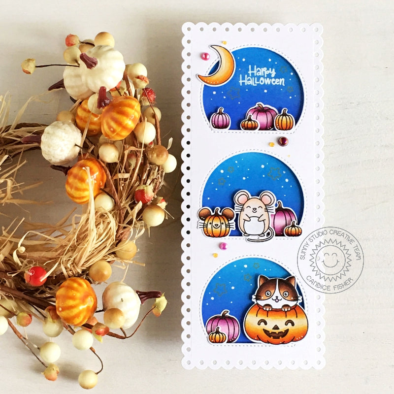 Sunny Studio Stamps Cat in Pumpkin Patch with Mice Handmade Fall themed Slimline Card (using Stitched Semi-Circles Metal Cutting Dies)