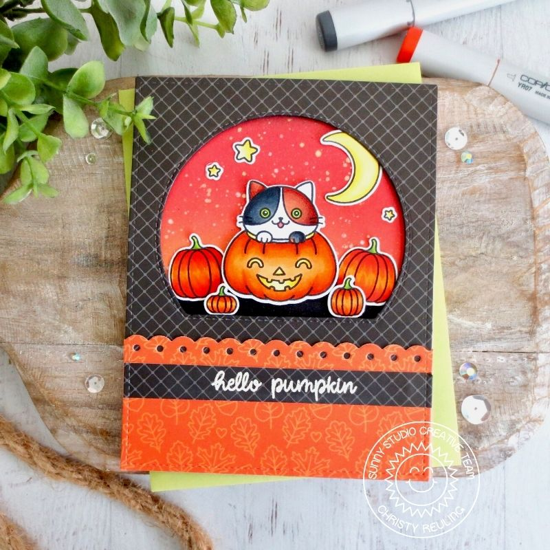 Sunny Studio Stamps Hello Pumpkin Kitty Cat Handmade Halloween Card with Black Diagonal Grid Print (using Classic Sunburst 6x6 Patterned Paper Pad)