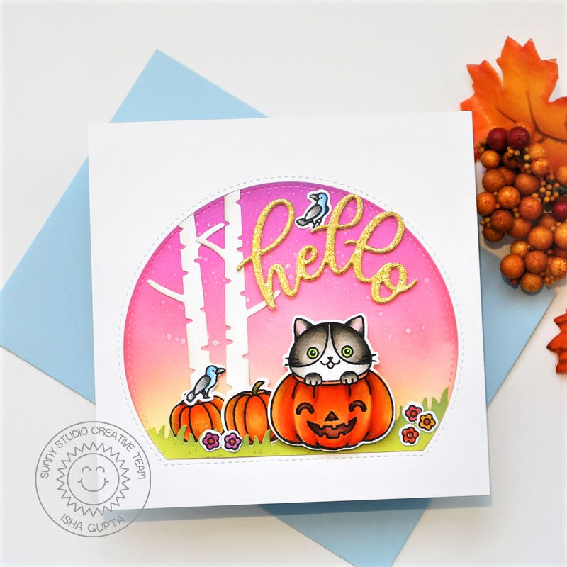 Sunny Studio Stamps Hello Fall Kitty Cat In Pumpkin Handmade Card (using Stitched Semi-Circle Metal Cutting Dies to create window frame)