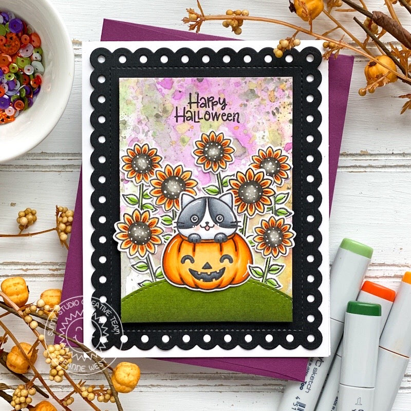 Sunny Studio Happy Halloween Cat in Jack-o-lantern Pumpkin with Sunflowers Handmade Autumn Fall Themed Card (using Happy Harvest 4x6 Clear Stamps)
