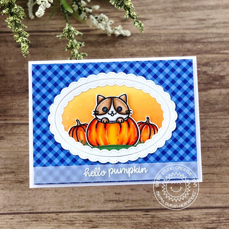 Sunny Studio Stamps Blue Gingham Hello Pumpkin Kitty Cat Handmade Fall Themed Card with Stitched Scalloped Edge (using Fancy Frames Ovals Metal Cutting Dies)