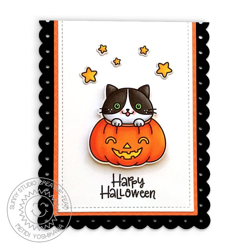 Sunny Studio Halloween Fall Kitty Cat in Pumpkin Black & Orange Scalloped Handmade Card (using Scaredy Cat 2x3 Clear Photopolymer Stamp Set)