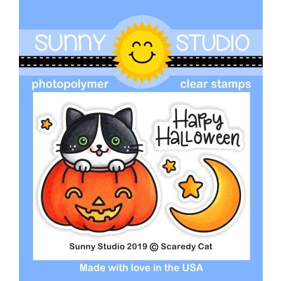 Sunny Studio Stamps Scaredy Cat Happy Halloween Cat in Pumpkin with Moon and Stars Mini 2x3 Clear Photopolymer Stamp Set