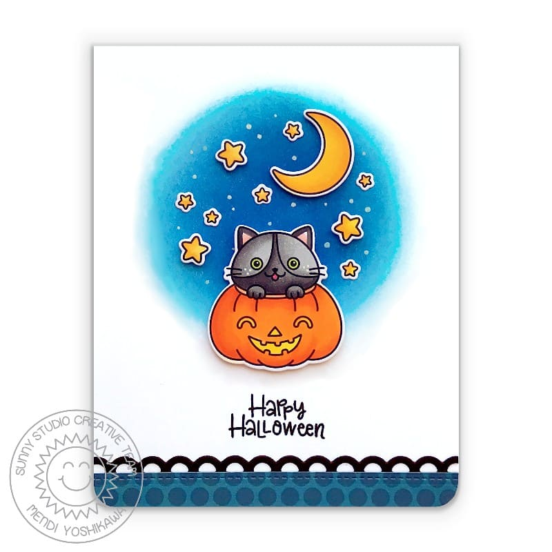 Sunny Studio Halloween Fall Kitty Cat in Pumpkin with Moon and Stars Handmade Card (using Scaredy Cat 2x3 Clear Photopolymer Stamp Set)