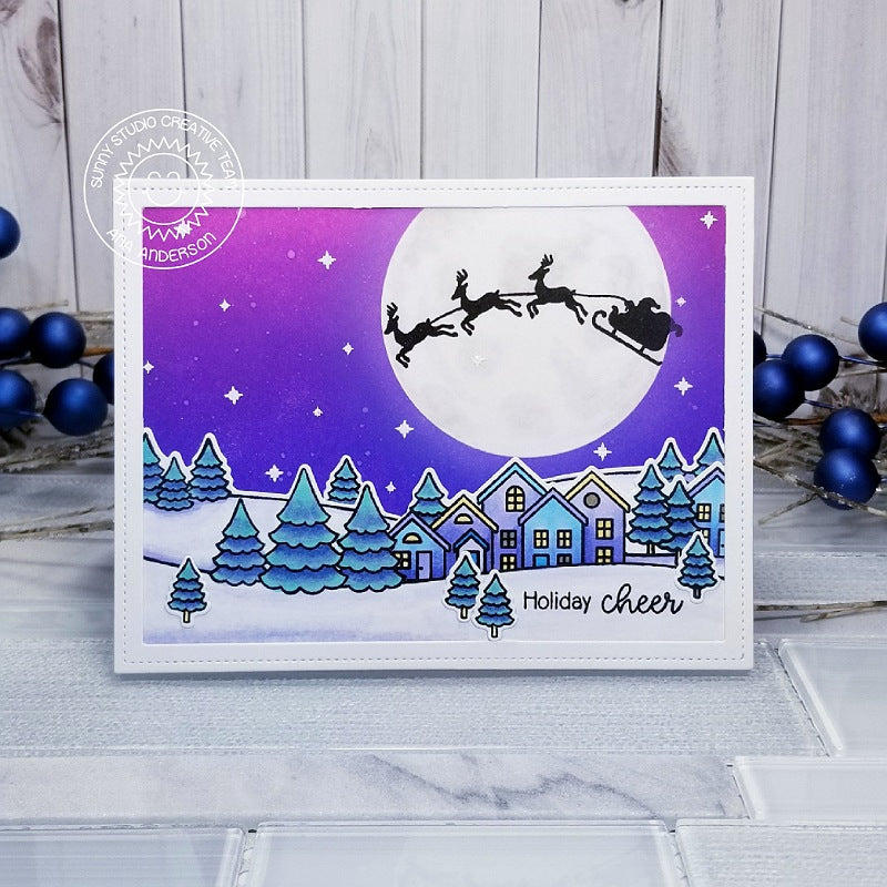 Sunny Studio Santa Claus with Sleigh and Reindeer Flying Over Town with Moon Lit Snowy Scene (using Here Comes Santa Stamps)