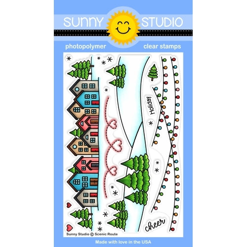 Sunny Studio Stamps Scenic Route Winter Holiday Neighborhood House, Lights & Snowy Hills with Trees Christmas Border 4x6 Clear Photopolymer Stamp Set