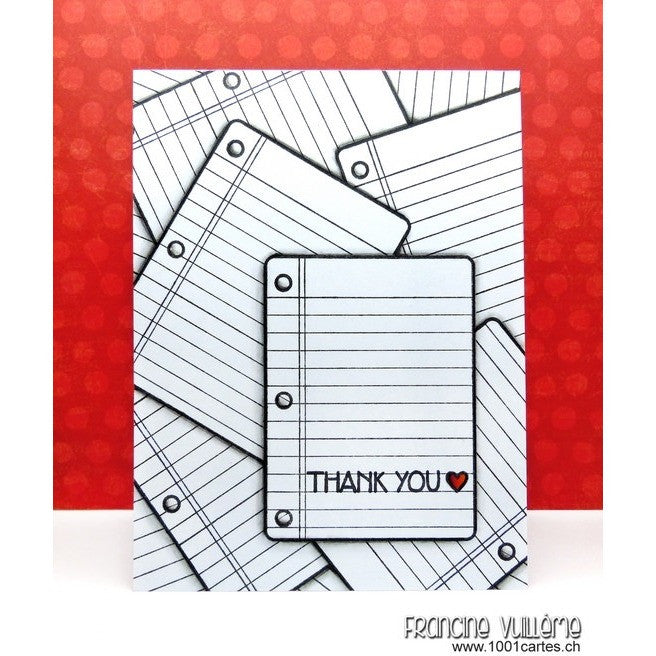 Sunny Studio Stamps School Time Thank You Scattered Notebook Paper Card