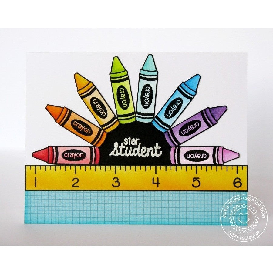 Sunny Studio Stamps School Time Star Student Crayon Card