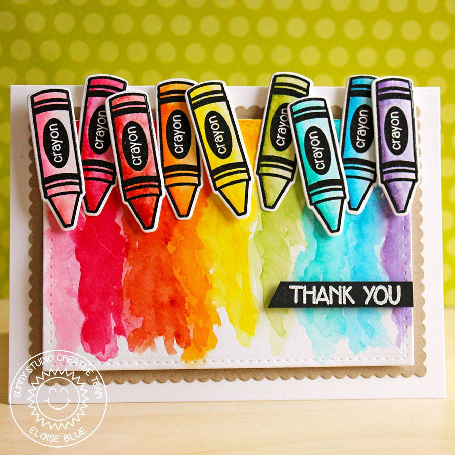 Sunny Studio Stamps School Time Rainbow Crayon Thank You Card