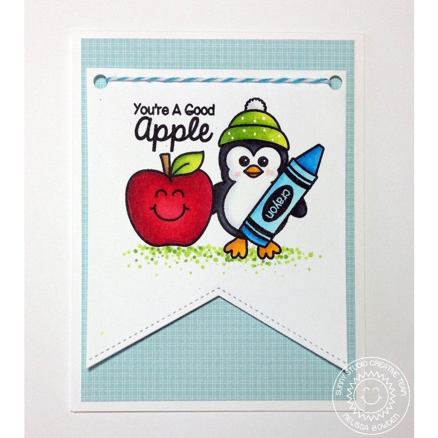 Sunny Studio Stamps School Time You're A Good Apple Penguin & Crayon Card