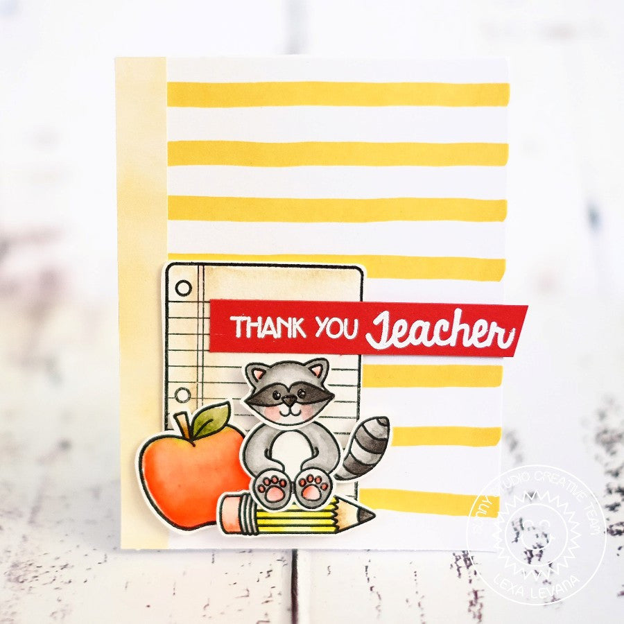 Sunny Studio Stamps Thank You Teacher Raccoon with Apple, Pencil & Notebook Paper Handmade Card (using School Time 4x6 Clear Photopolymer Stamp Set)