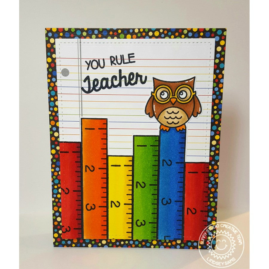 Sunny Studio Stamps School Time You Rule Teacher Owl & Rainbow Ruler Card
