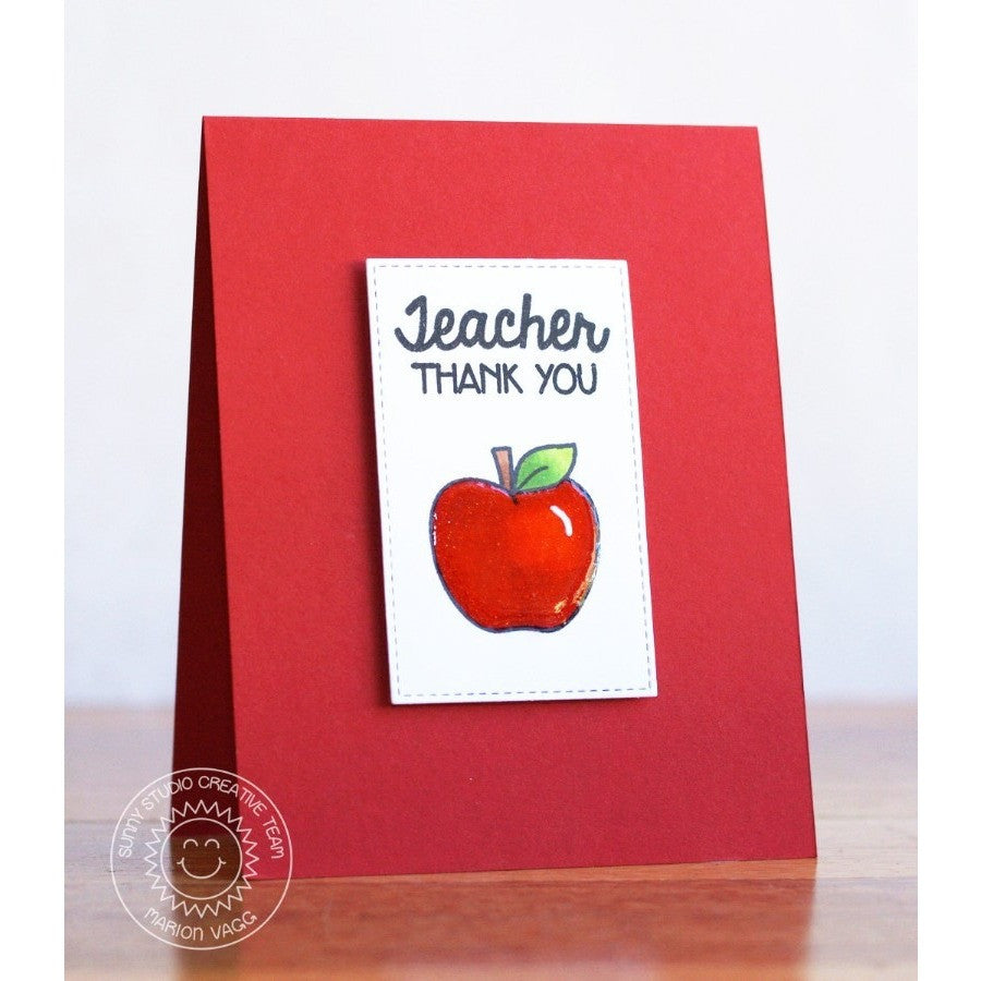Sunny Studio Stamps Thank You Teacher Shiny Red Apple Clean & Simple Handmade Card (using School Time 4x6 Clear Photopolymer Stamp Set)
