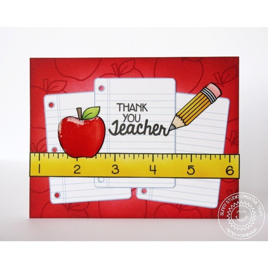 Sunny Studio Stamps School Time Apple For Teacher Thank You Card
